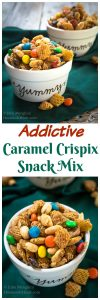This Addictive Caramel Crispix Snack Mix is so good that people will ask you not to make it. One batch will keep youand a ton of your friends munching all day long! | HostessAtHeart.com