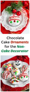 If you aren't into cake decorating but love the results, these Chocolate Cake Ornaments are for you!  They're also a fun activity that the Kiddos would love help making. | HostessAtHeart.com