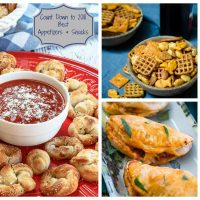 Collage of 3 photos showing the 2018 Best Appetizers and snacks including pizza knots sitting on a red plate, a wooden bowl full of snack mix, and 3 empanadas on a white plate.