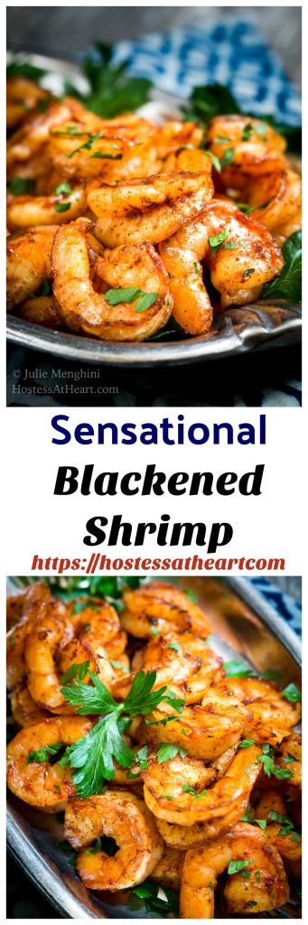 Sensational Baked Blackened Shrimp Recipe is delicious and so versatile.  It makes a great appetizer or is perfect for tacos or pasta.  Best of all, it is a healthier option and takes only 10 minutes start to finish! | HostessAtHeart.com