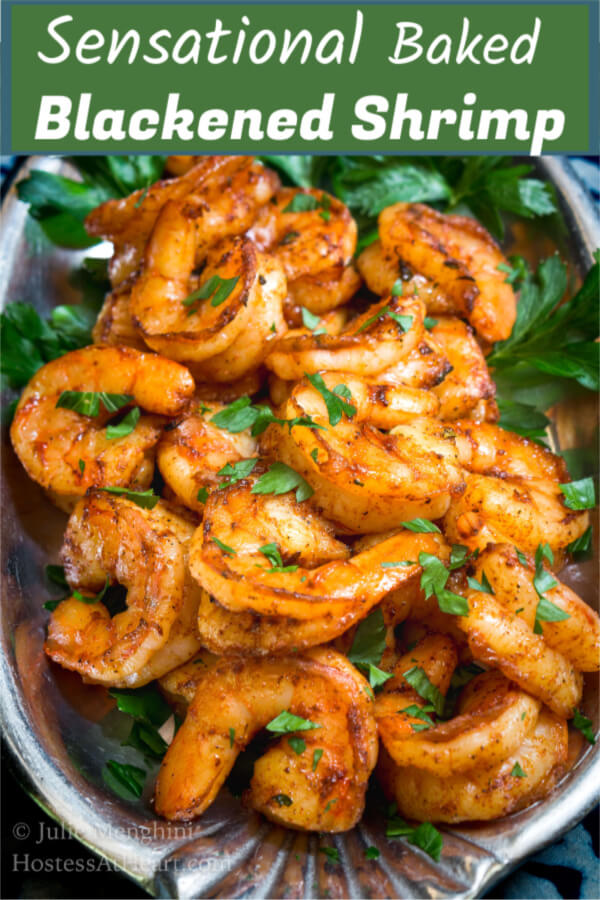 Baked Blackened Shrimp is plump and juicy. This pile of shrimp is a pleasure to bite into and their spicy red finish will have you reaching for another one.