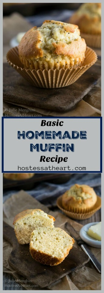 Basic homemade muffins are soft and tender with a lightly browned top like this poppyseed version!