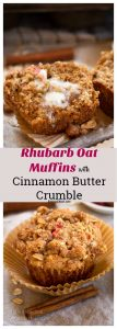 Pinterest collage of Rhubarb Oat Muffins with Cinnamon Butter Crumble