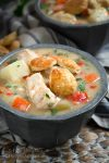 Bowl of Chicken Pot Pie Soup with second bowl in back