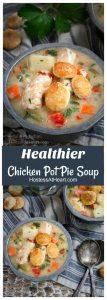 Healthier Chicken Pot Pie Soup Pin collage