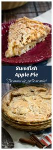 Pin collage of whole Swedish Apple Pie and cut slice