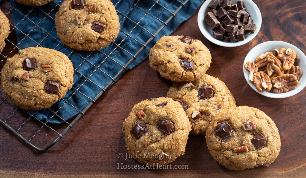 Horizontal of Chocolate Chunk Molasses Cookies