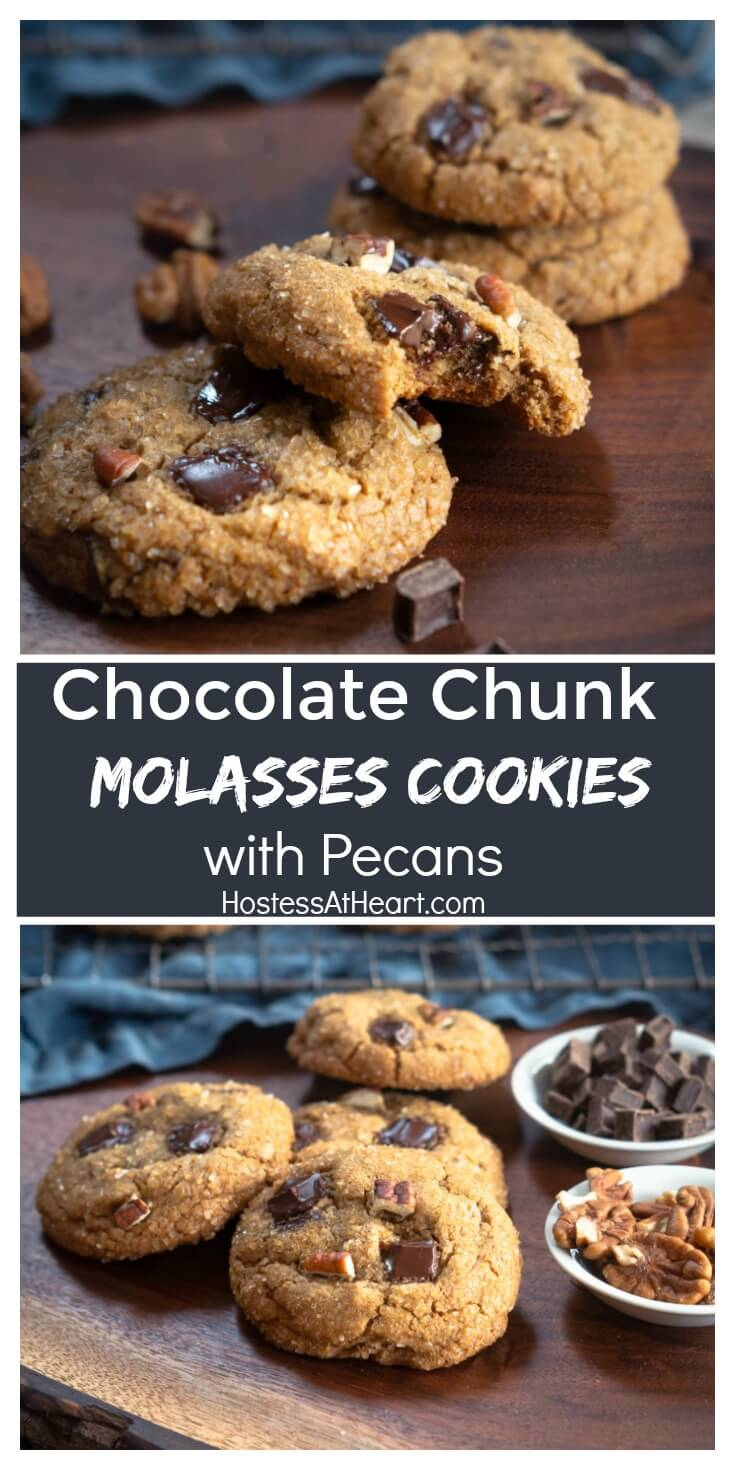 Chocolate Chunk Molasses Cookies with Pecans aren't your ordinary cookie.  They're a delicious cookie with a celebration of flavors and textures | #christmascookies #cookies #cookierecipes #holidaybaking #molassescookies