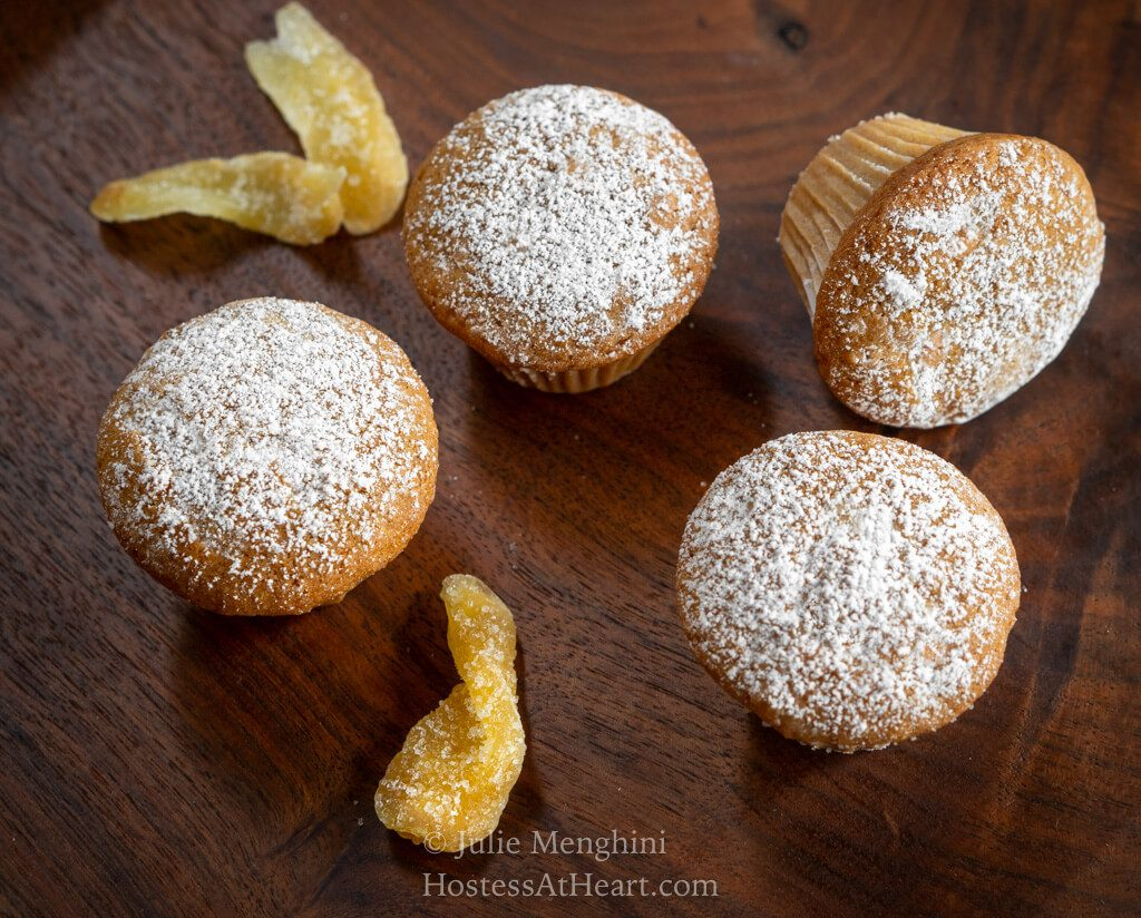 Top horizontal view of 4 mini muffins