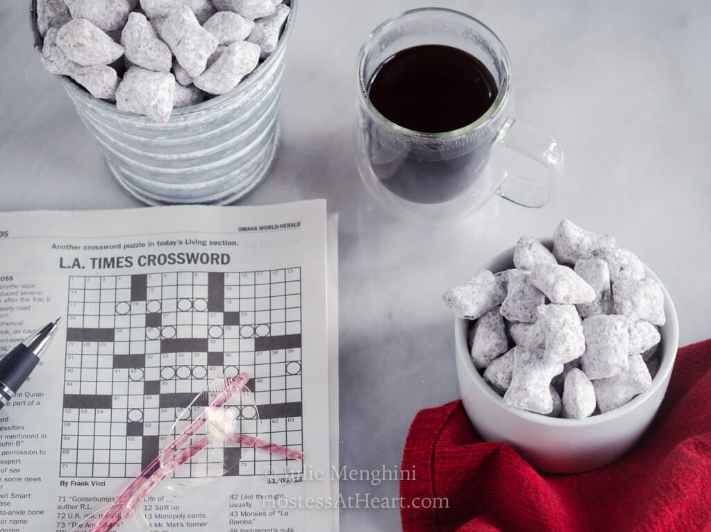 Horizontal puppy chow shot with crossword puzzle