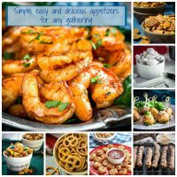 A collage of easy appetizers suitable for every gathering.
