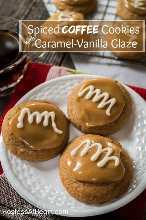 3 soft mocha coffe flavored cookies with a soft caramel topping and swirl vanilla glaze