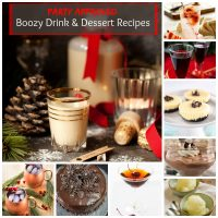Collage of desserts and drinks containing alcohol