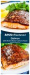 Delicious baked Blackened Salmon is tender and juicy. It's topped with a spicy orange blackening seasoning and finished with a drizzle of brown butter lemon.