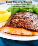 This Baked Blackened Salmon is tender and juicy. The blackened seasoning makes a spicy crust and it glistens from the brown butter lemon drizzle.