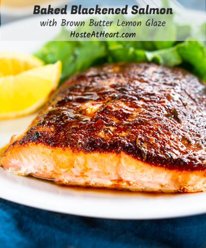 Baked Blackened Salmon With Brown Butter Lemon Drizzle