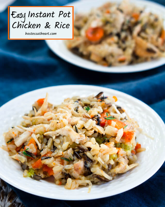 This large plate of Creamy Chicken and rice is full of juicy chicken, risotto-like rice, and delicious veggies.