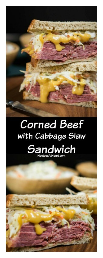 A double decker Corned Beef Sandwich loaded with a caraway slaw and slathered with a brown sugar mustard