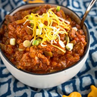 Down Home Chili No Beans recipe is loaded with pork, beef, onions, jalapenos and spices. It's filling and will warm you from the inside out.