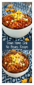 Down Home Chili No Beans Recipe is a spicy meaty chili stuffed with warm spices and topped with shredded cheeses