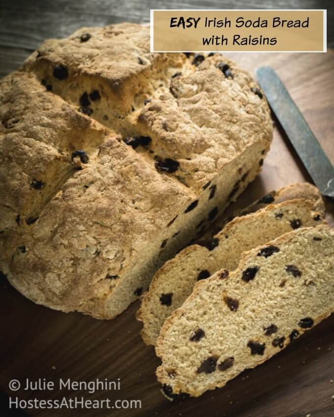 Easy Irish Soda Bread with Raisins is a dimpled rustic loaf that is tender and delicious to eat.