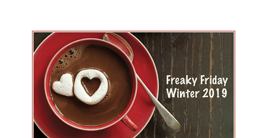 Banner showing hot chocolate in a red cup and saucer with the Freaky Friday Recipe winter edition printed next to the saucer.