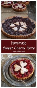 A collage of a beautiful dark sweet cherry tart and bright red cherry mini tarts.