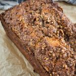 The top of this Orange Pecan Streusel Coffee Cake Loaf has a thick brown sugar pecan streusel making it sweet and crunchy!
