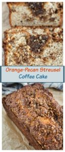 An entire loaf or just a slice of Orange Pecan Streusel coffee cake is full of brown sugar pecan streusel making it sweet and crunchy