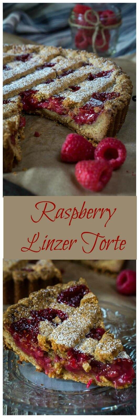 Raspberry Linzer Torte has an almond shell that tastes like a warm cookie filled with a thick luscious fresh raspberry filling. #Linzertorte #raspberry #dessert #hostessatheart|