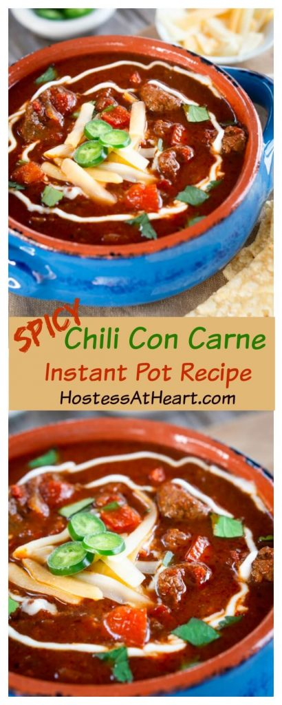 Spicy Chili Con Carne is a rich deep red stew loaded with meat and spices.