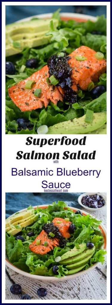 A collage of superfood salmon salad with balsamic blueberry sauce is loaded with a dark orange salmon filet, avocado and bright green leaf lettuce