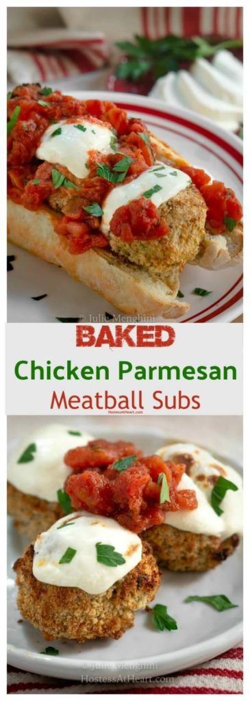 Collage of Chicken Parmesan Meatballs as a hoagie or as is on a plate. Topped with melted mozzarella and marinara.