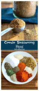 Creole seasoning blend collage showing a mix of herbs and spices that lend a savory kick to any dish.