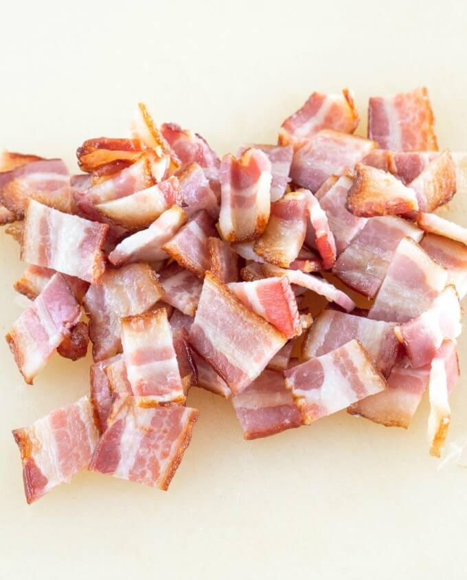 Large pieces of cubed bacon