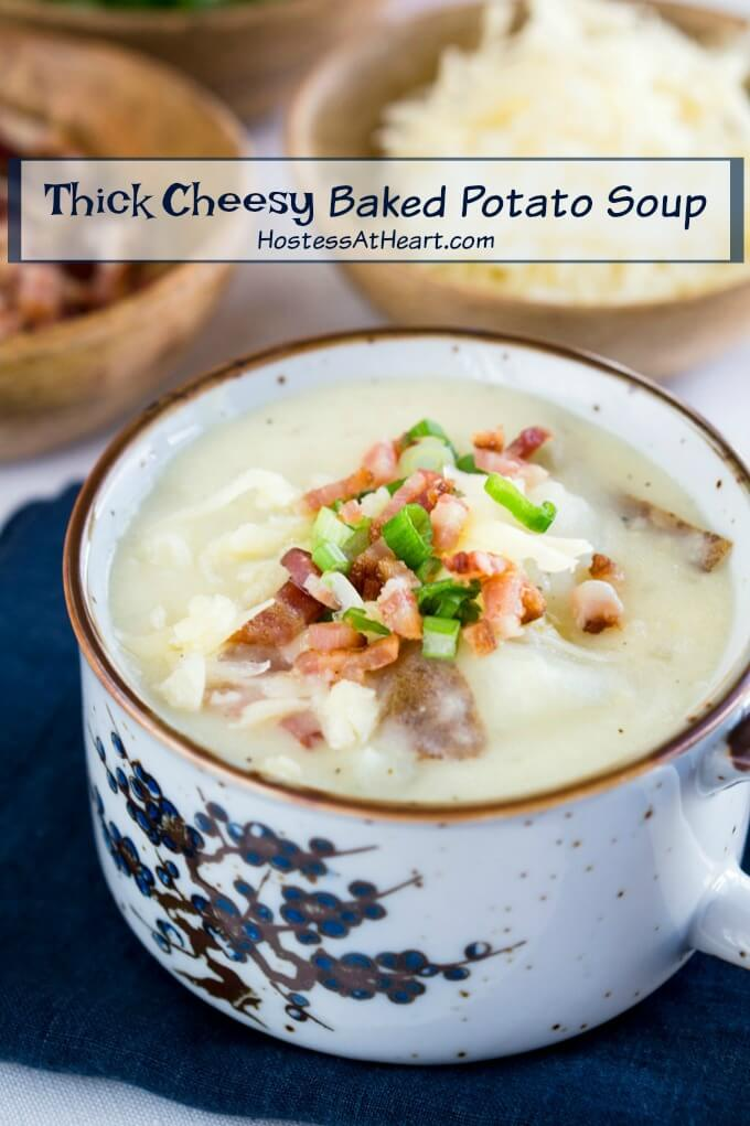 Thick potato soup loaded with green onions, bacon and cheddar cheese