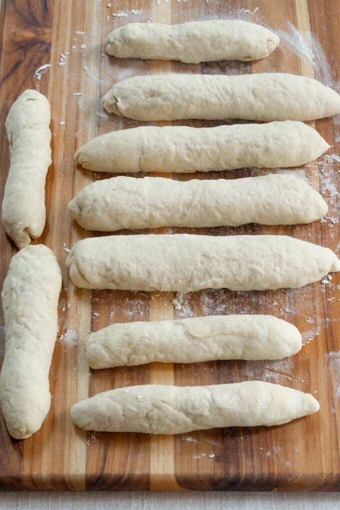 Ciabatta short baguette shape make soft breadsticks