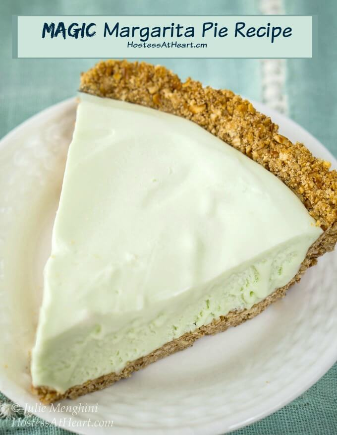 Top view of Magic Margarita Pie which is a creamy green-tinted creamy filling with a touch of tequila.