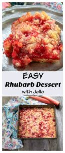 Collage showing a 3/4 view of a red rhubarb dessert slice on a grey plate
