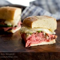 Italian bread loaded with rare prime rib, Italian seasonings, melted cheese and al dente vegetables.