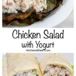 Chicken salad in a croisant and in tortilla wraps on beds of lettuce
