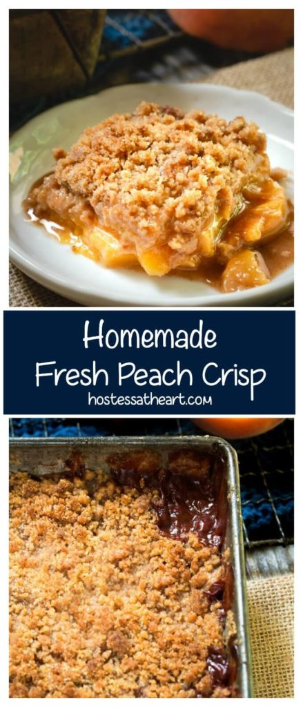 Collage of a slice of peach streusel topping above a pan full of the peach dessert