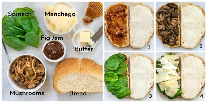 Photo shows Ingredients for a Manchego Grilled Cheese Sandwich including spinach, cheese, bread, sauteed mushrooms with onion, butter and fig jam and 4 shots showing the order for assembling it.