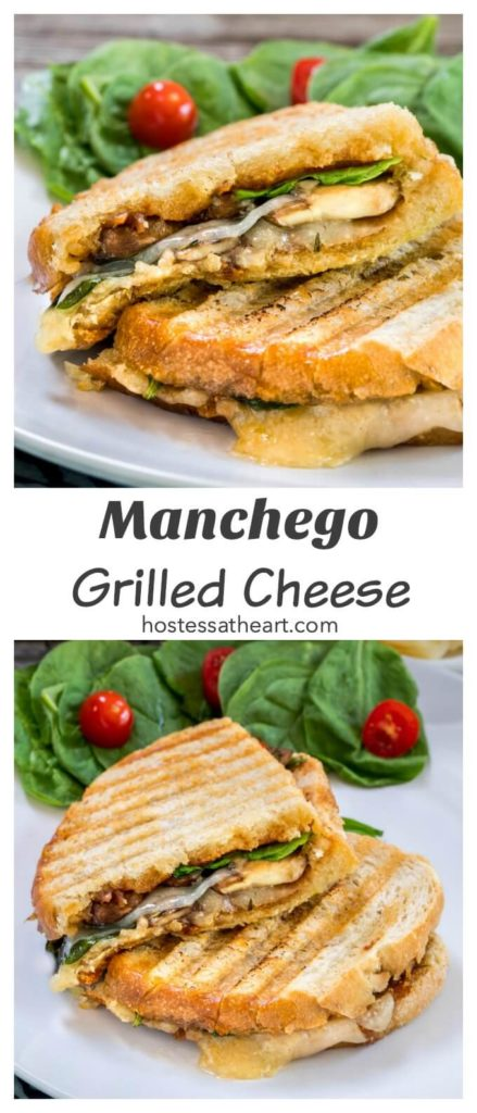 Collage of two views of a grilled panini with manchego cheese, spinach, mushrooms and onions