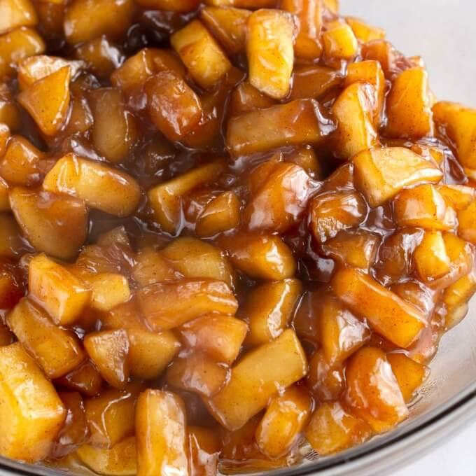 Apple filling full of diced apples, brown sugar and cinnamon
