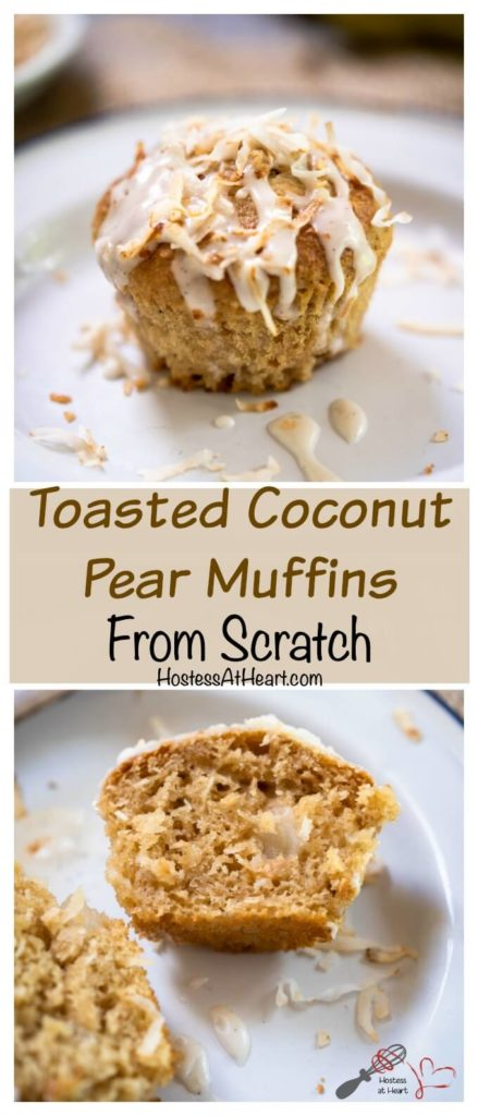 Whole pear muffin topped with glaze and toasted coconut over a sliced muffin on a white plate with pieces of pear