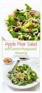 Collage of a closeup salad photo topped with apples, pears, cashews, cheese and craisins divided by the salad name over a full salad with separate bowls of nuts and craisins.