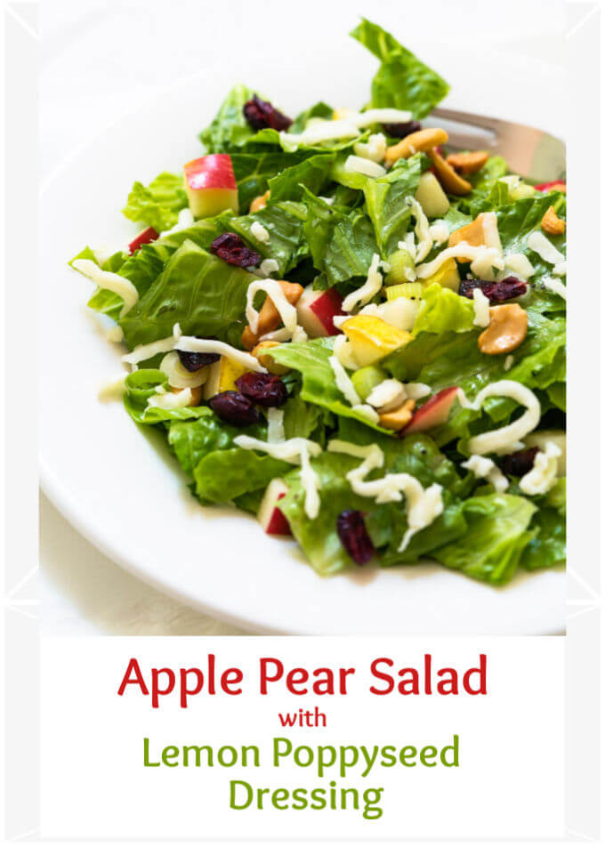 Photo of a lettuce salad in a white bowl topped with cashews, cranberries, pears, apples and grated Swiss cheese over the title Apple Pear Salad wording