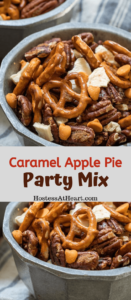 Two photo collage of caramel apple snack mix filled with pretzels, pecans, dried apples and caramel chips.