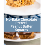 Collage of a pretzel filled bar topped with chocolate over a bar sitting on a white plate.